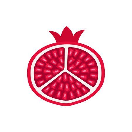 Ripe pomegranate in cut icon flat design Stock fotó