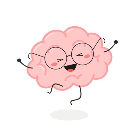 Cheerful happy cartoon brain jumping for joy. Vector flat illustration isolated on white background