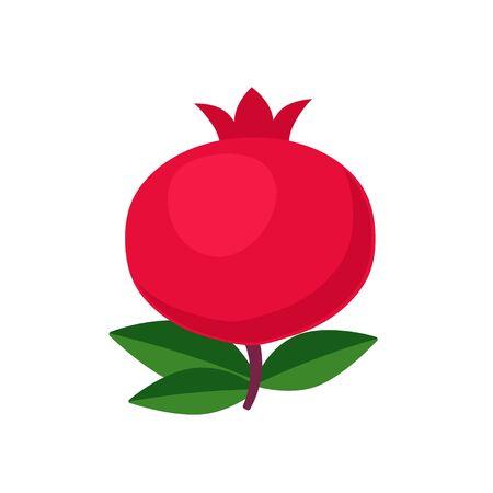 Pomegranate fruit icon flat design vector illustration