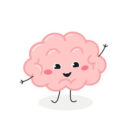 Funny cartoon brain character greeting waving hand