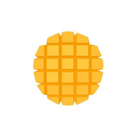Fresh mango round slice cut to cubes