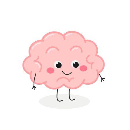 Cute funny cartoon brain character vector illustration