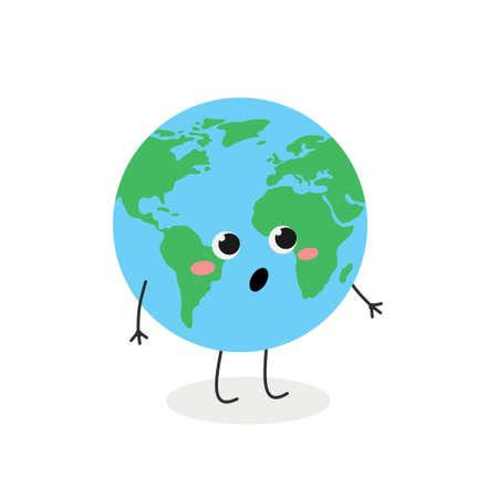 Funny amazed cartoon Earth character vector illustration