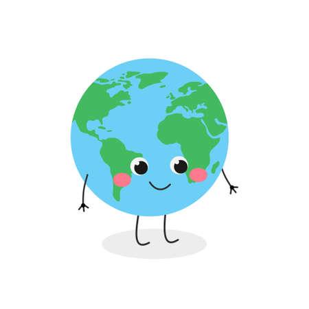 Cute funny cartoon globe character vector illustration