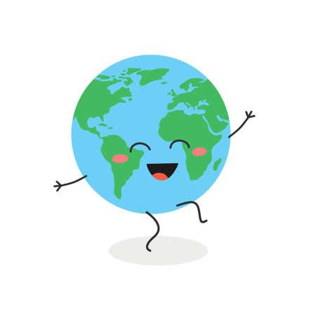 Funny dancing cartoon globe character vector illustration