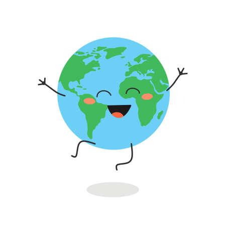 Happy cartoon Earth planet character vector illustration