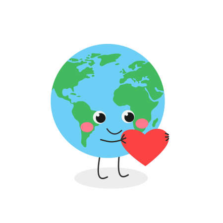 Cute cartoon Earth planet character with heart