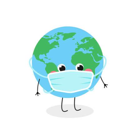 Cute cartoon globe character wearing face mask