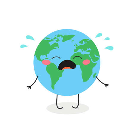 Cute crying cartoon Earth character vector illustration Illusztráció