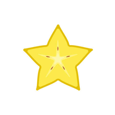 Carambola in cut star fruit flat design