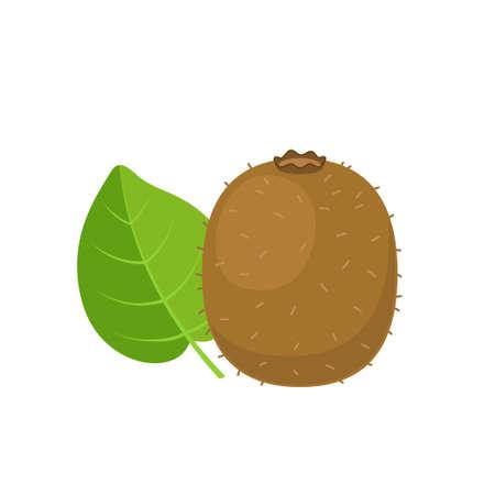 Kiwi with leaf flat design vector illustration