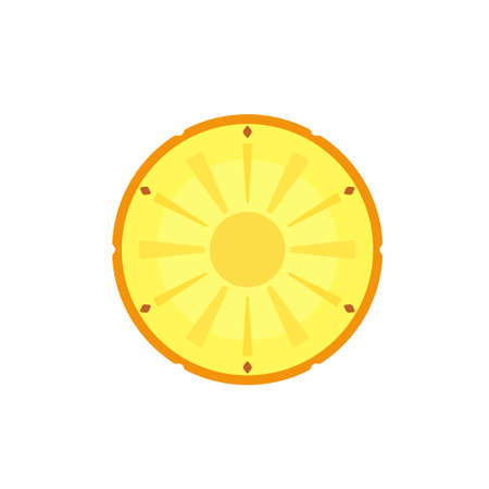 Pineapple in cut top view bright icon