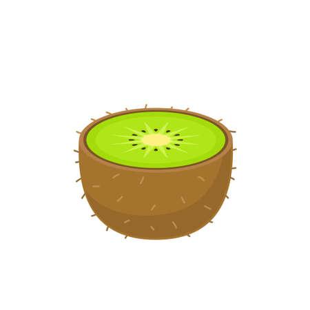 Half kiwi icon flat design vector illustration