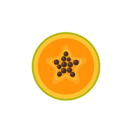 Papaya in cut flat design vector illustration