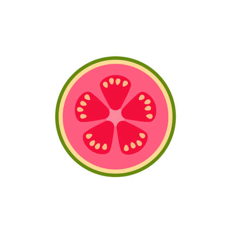 Guava in cut top view flat design