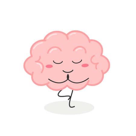 Funny cartoon brain practicing yoga tree position