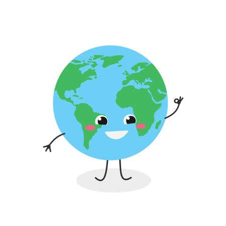 Cheerful cartoon Earth planet showing okay sign