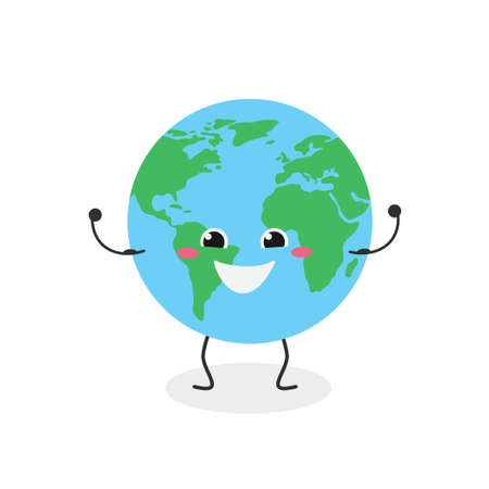 Cheerful strong cartoon globe character vector illustration