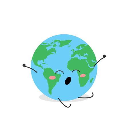 Funny cartoon globe character yawning and stretching Illusztráció