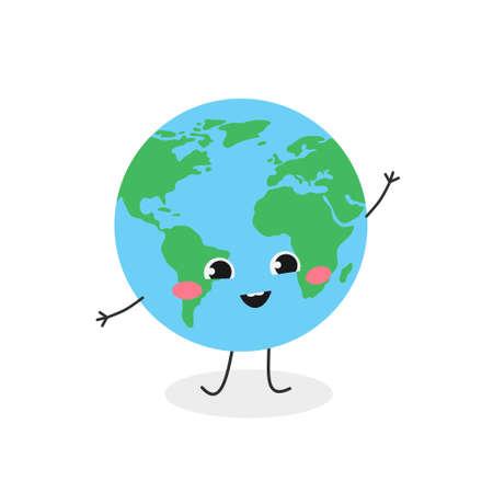 Cute cartoon globe character greeting waving hand