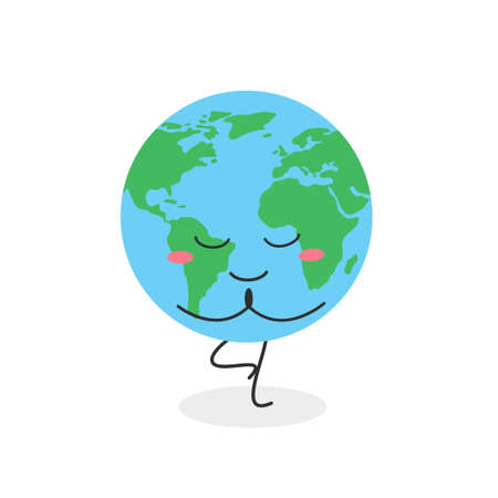 Cute globe character practicing yoga tree position