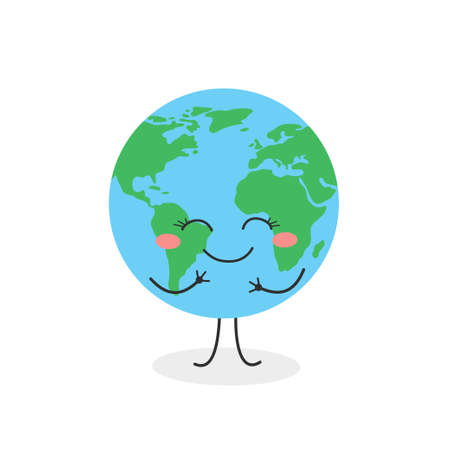 Joyful cartoon Earth planet character vector illustration