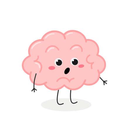 Cute shocked cartoon brain character vector illustration Illusztráció