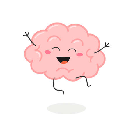 Happy excited cartoon brain character vector illustration