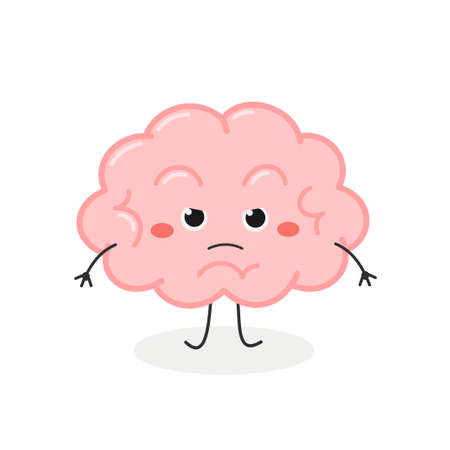 Funny angry cartoon brain character vector illustration