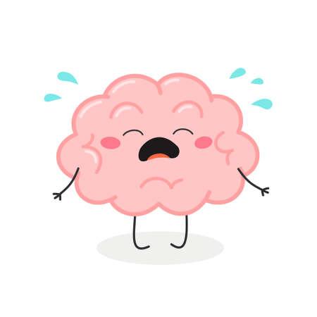 Cute crying cartoon brain character vector illustration