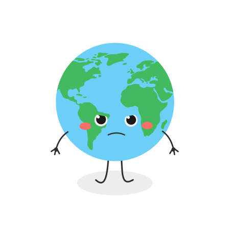 Funny angry cartoon Earth character vector illustration
