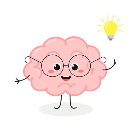 Cute nerd brain cartoon character with lightbulb