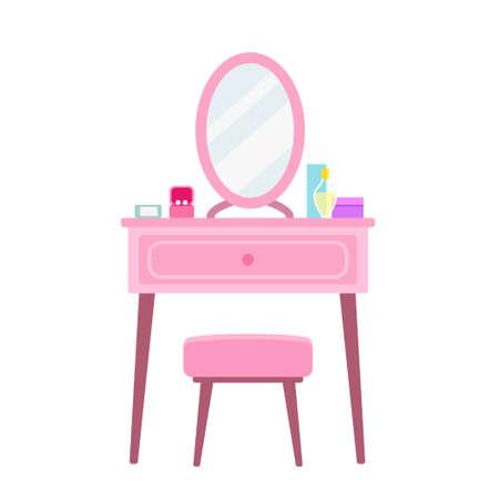 Beauty make up dressing table flat design