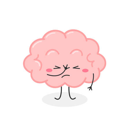 Funny cartoon brain character with facepalm gesture