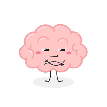 Funny cartoon brain with skeptical facial expression Ilustração