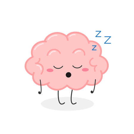 Funny asleep cartoon brain character vector illustration