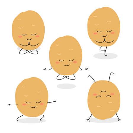 Potato yoga poses vector set flat design