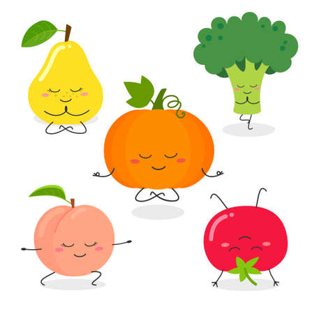 Fruit and vegetable yoga poses vector set