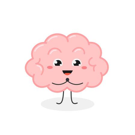 Cute kawaii brain with delighted facial expression Ilustración de vector