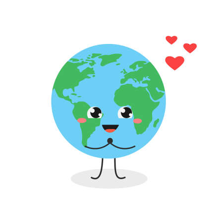 Cute kawaii globe cartoon character in love