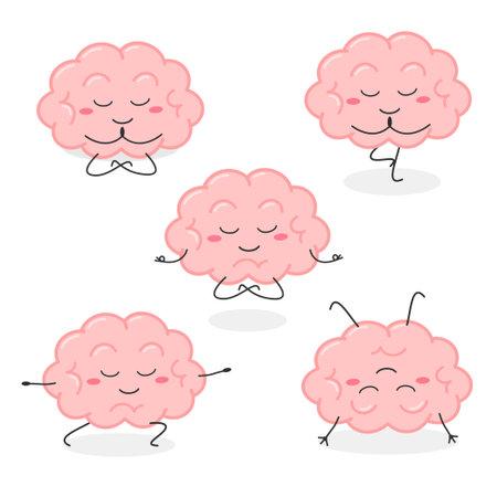 Cartoon human brain organ character practicing yoga