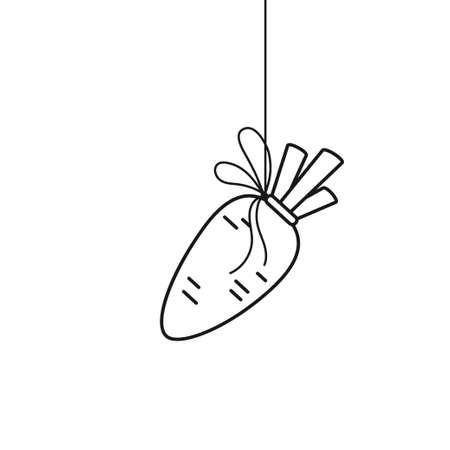 Hanging carrot outline motivation concept vector illustration Vetores