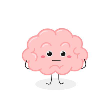 Funny brain cartoon character with Poker Face Vektorové ilustrace