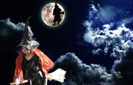 two witch fly in the night of full moon Stock Photo - 2935202