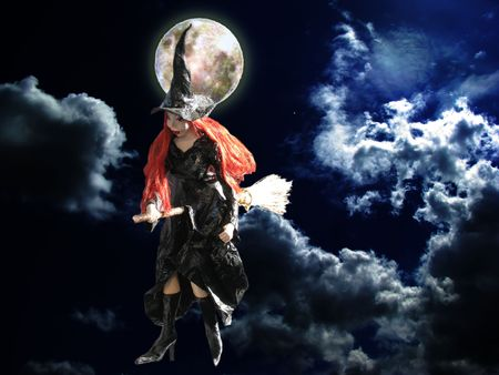 witch fly in the night of full moon Stock Photo - 2935200