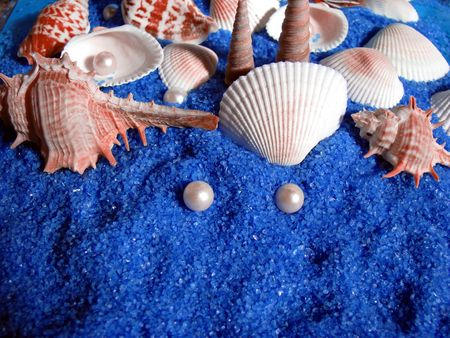 blue sand,shells and pearl