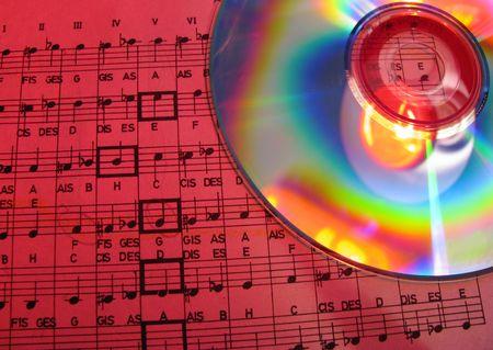 estrofa: notas escritas en cd  Foto de archivo