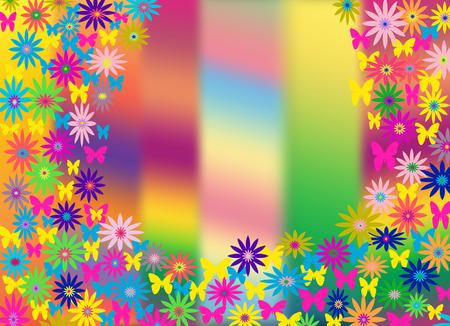 bloemen op de achtergrond reibow Vector Illustratie