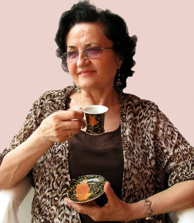lady drinking coffe photo
