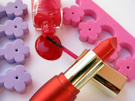 red nail polish and red lipstick photo